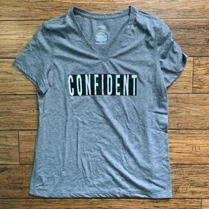 Danskin Tops - 5 for $25 - Grey Confident Graphic V Neck Tee